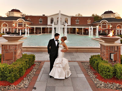 Enjoy a moment together by the fountains at the Rockleigh